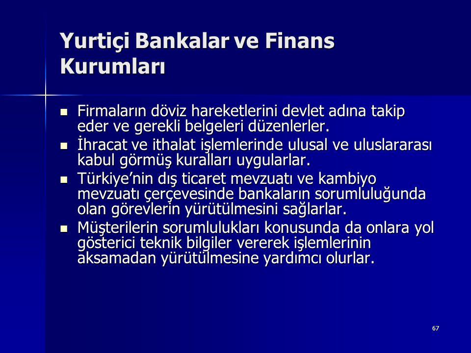67 Yurtiçi Bankalar ve Finans Kurumları  Firmaların döviz hareketlerini devlet adına takip eder ve gerekli belgeleri düzenlerler.  İhracat ve ithala
