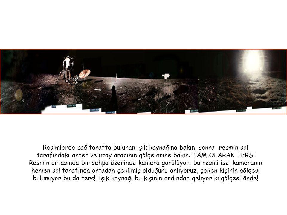 Resimlerde sağ tarafta bulunan ışık kaynağına bakın, sonra resmin sol tarafındaki anten ve uzay aracının gölgelerine bakın. TAM OLARAK TERS! Resmin or