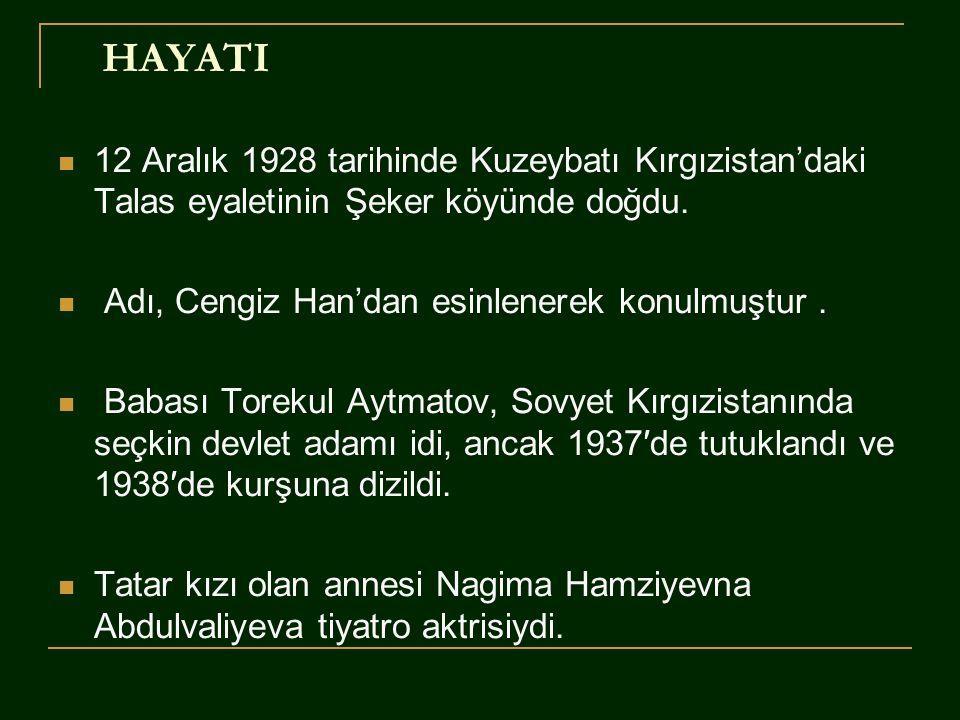 HAYATI  12 Aralık 1928 tarihinde Kuzeybatı Kırgızistan'daki Talas eyaletinin Şeker köyünde doğdu.  Adı, Cengiz Han'dan esinlenerek konulmuştur.  Ba