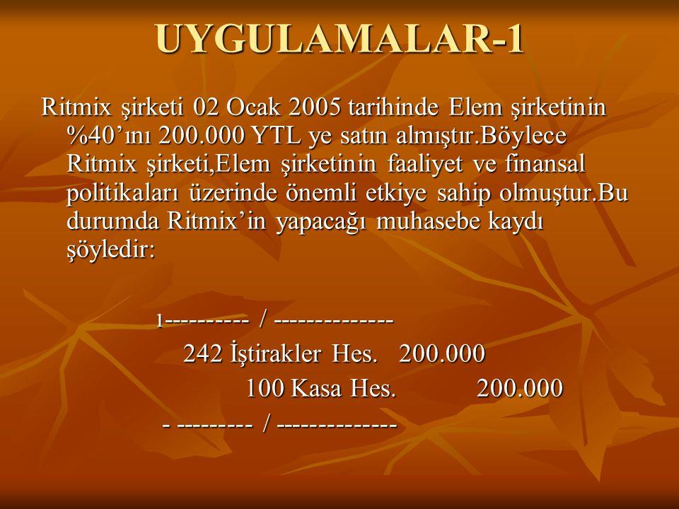 UYGULAMALAR-1 Ritmix şirketi 02 Ocak 2005 tarihinde Elem şirketinin %40'ını 200.000 YTL ye satın almıştır.Böylece Ritmix şirketi,Elem şirketinin faali