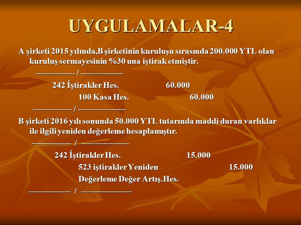 UYGULAMALAR-4 A şirketi 2015 yılında,B şirketinin kuruluşu sırasında 200.000 YTL olan kuruluş sermayesinin %30 una iştirak etmiştir. -------------- /