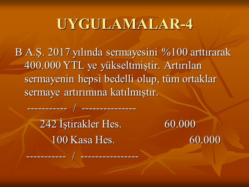 UYGULAMALAR-4 B A.Ş. 2017 yılında sermayesini %100 arttırarak 400.000 YTL ye yükseltmiştir. Artırılan sermayenin hepsi bedelli olup, tüm ortaklar serm