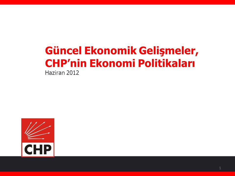 Güncel Ekonomik Gelişmeler, CHP'nin Ekonomi Politikaları Haziran 2012 Faik Öztrak Cumhuriyet Halk Partisi Genel Başkan Yardımcısı Tekirdağ Milletvekili 1