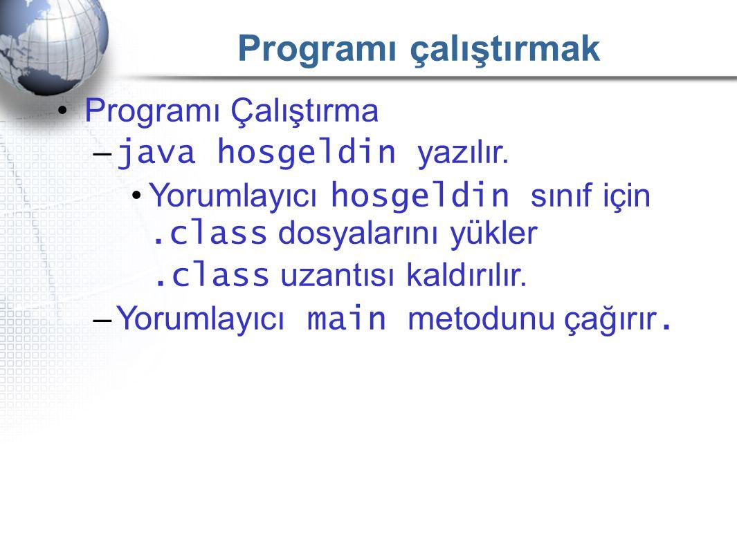 Programı çalıştırmak •Programı Çalıştırma – java hosgeldin yazılır. •Yorumlayıcı hosgeldin sınıf için.class dosyalarını yükler.class uzantısı kaldırıl