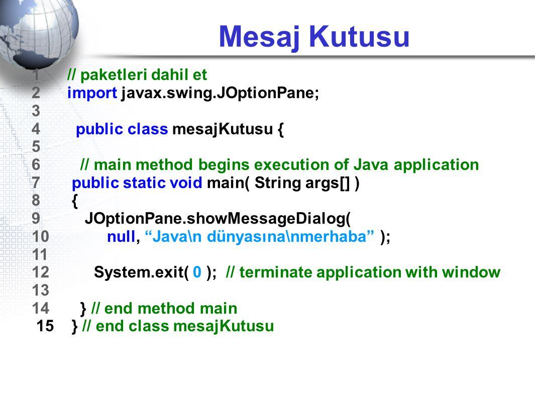 Mesaj Kutusu 1 // paketleri dahil et 2 import javax.swing.JOptionPane; 3 4 public class mesajKutusu { 5 6 // main method begins execution of Java appl