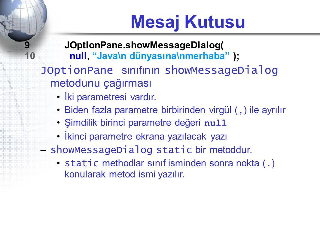 "Mesaj Kutusu 9 JOptionPane.showMessageDialog( 10 null, ""Java\n dünyasına\nmerhaba"" ); JOptionPane sınıfının showMessageDialog metodunu çağırması •İki"