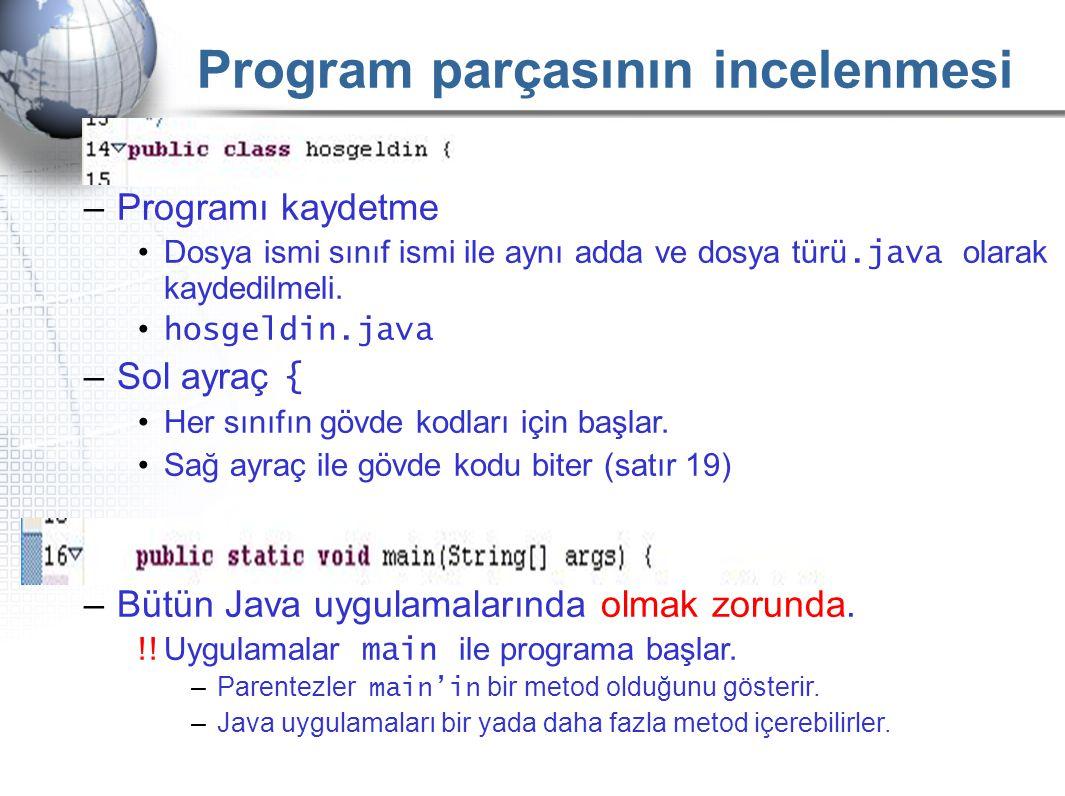 –Programı kaydetme •Dosya ismi sınıf ismi ile aynı adda ve dosya türü.java olarak kaydedilmeli. • hosgeldin.java –Sol ayraç { •Her sınıfın gövde kodla