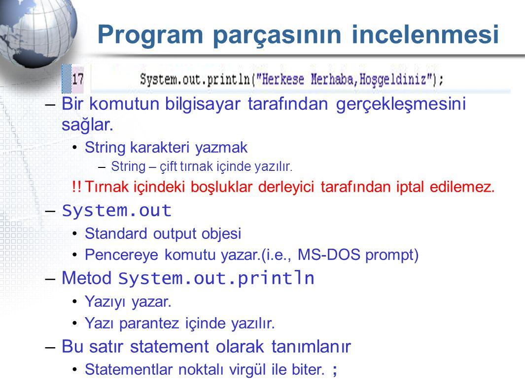 Program parçasının incelenmesi –Bir komutun bilgisayar tarafından gerçekleşmesini sağlar. •String karakteri yazmak –String – çift tırnak içinde yazılı
