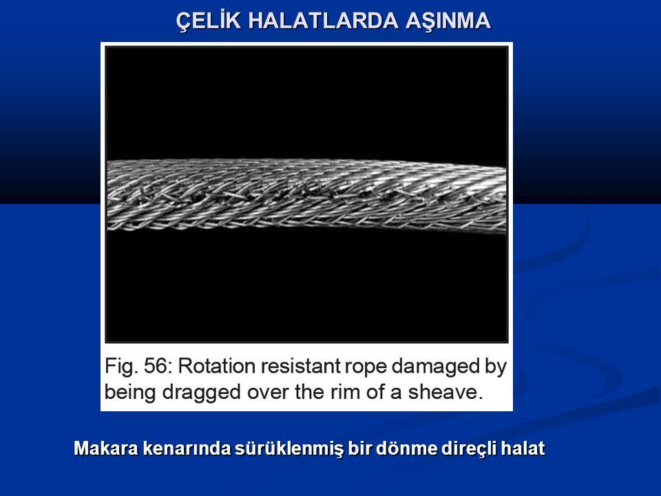 ÇELİK HALATLARDA AŞINMA Makara kenarında sürüklenmiş bir dönme direçli halat Makara kenarında sürüklenmiş bir dönme direçli halat