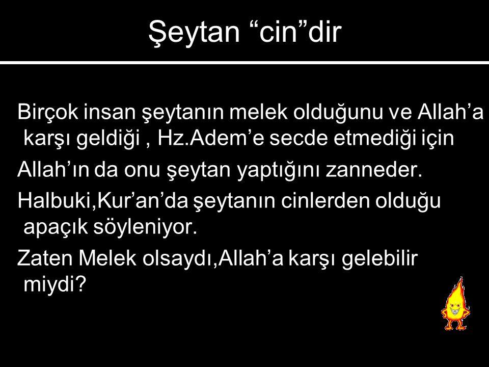 3-) Bütün kötülükler ondadır. 1-) Yalancı ve yemincidir 2-) Riyakarlık öğretir(gösterişi sevdirir) 3-) Allah'a isyan etmiştir. 4-) Kur'an'dan yüz çevi