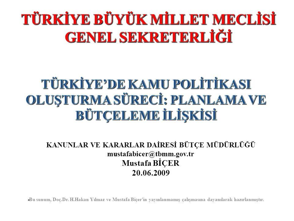 KANUNLAR VE KARARLAR DAİRESİ BÜTÇE MÜDÜRLÜĞÜ mustafabicer@tbmm.gov.tr Mustafa BİÇER 20.06.2009  Bu sunum, Doç.Dr. H.Hakan Yılmaz ve Mustafa Biçer'in