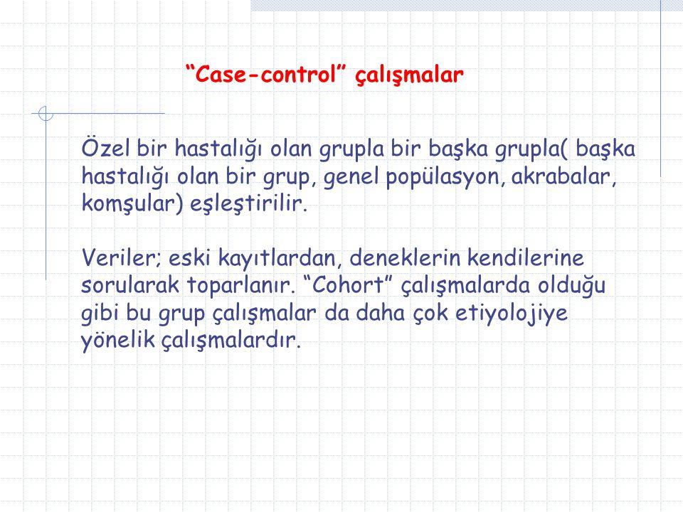 """""""Case-control"""" çalışmalar Özel bir hastalığı olan grupla bir başka grupla( başka hastalığı olan bir grup, genel popülasyon, akrabalar, komşular) eşleş"""