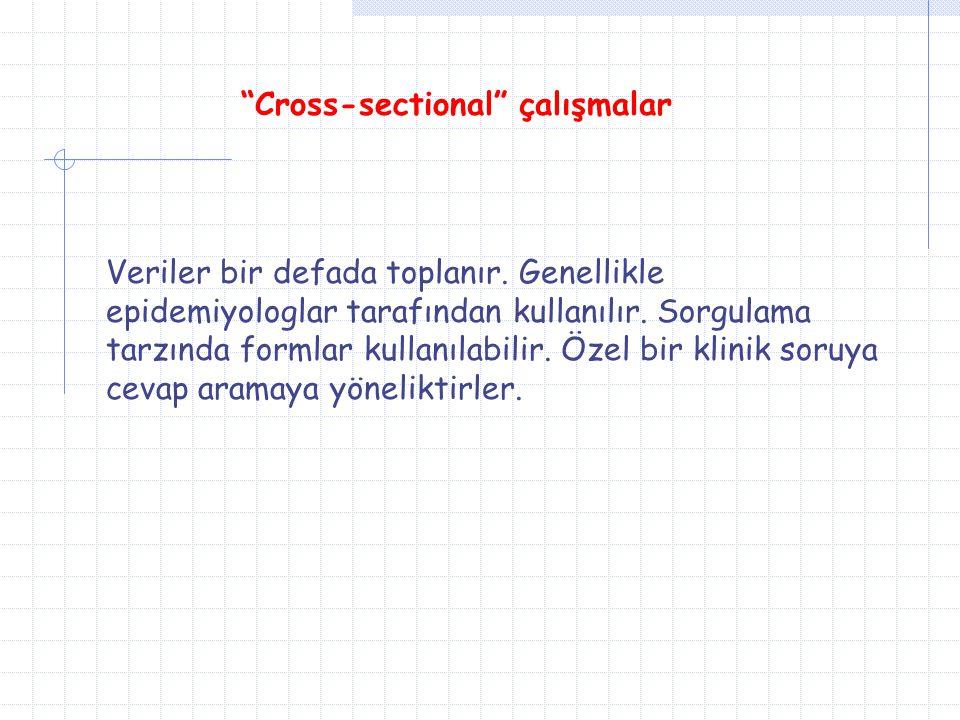 """""""Cross-sectional"""" çalışmalar Veriler bir defada toplanır. Genellikle epidemiyologlar tarafından kullanılır. Sorgulama tarzında formlar kullanılabilir."""