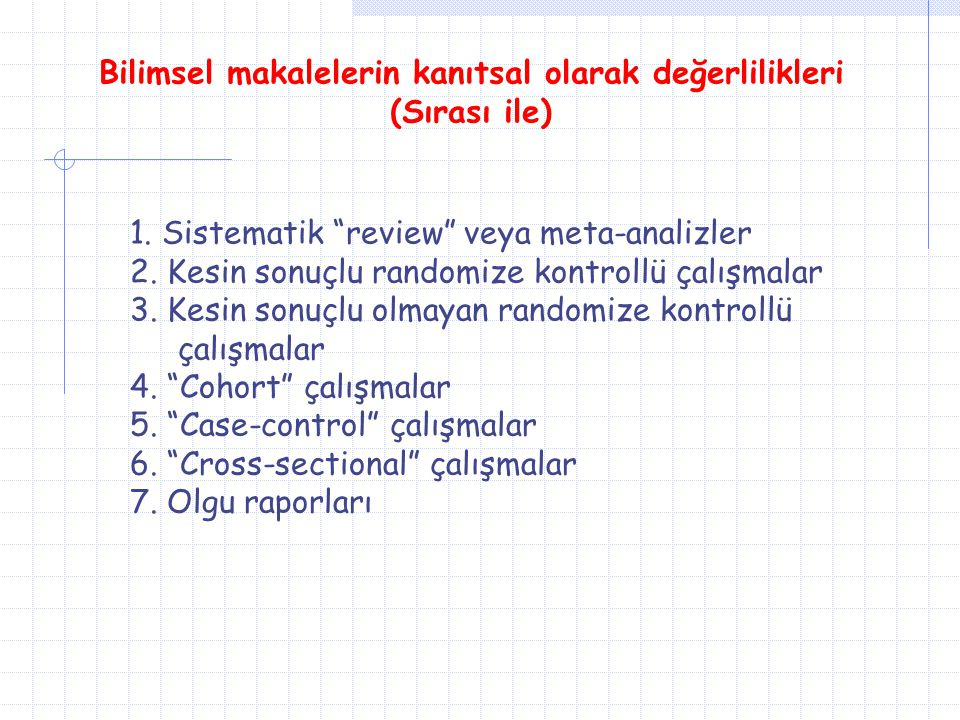 """Bilimsel makalelerin kanıtsal olarak değerlilikleri (Sırası ile) 1. Sistematik """"review"""" veya meta-analizler 2. Kesin sonuçlu randomize kontrollü çalış"""