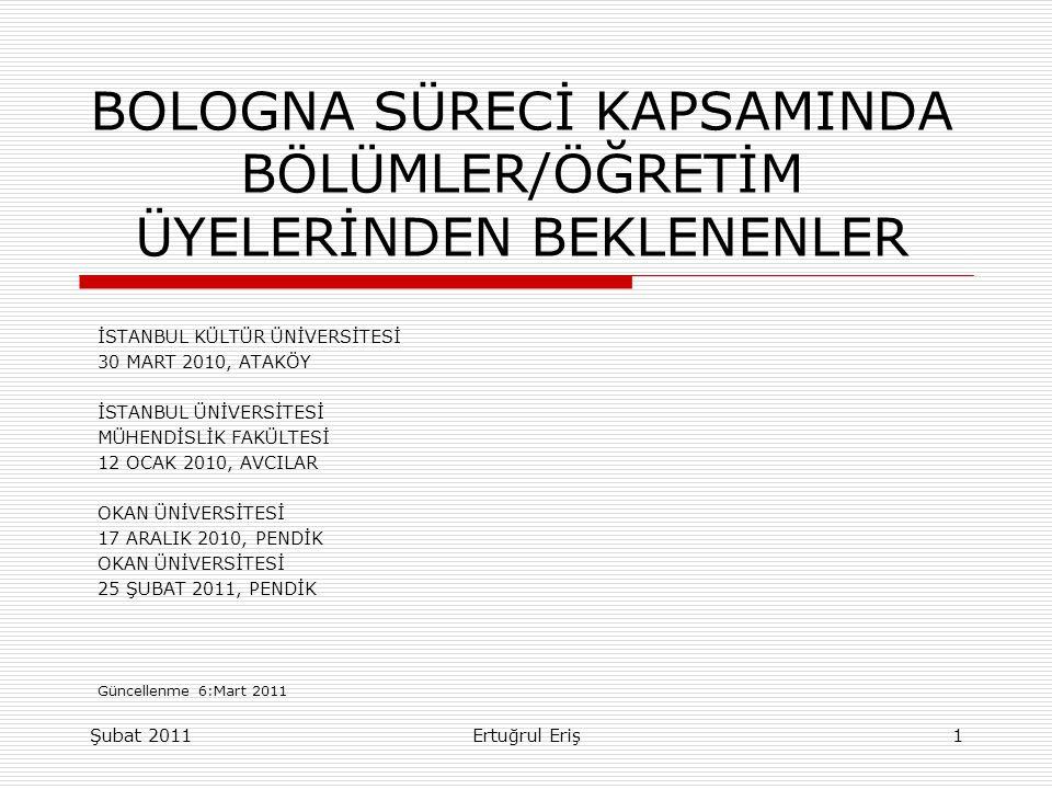 BOLOGNA SÜRECİ KAPSAMINDA BÖLÜMLER/ÖĞRETİM ÜYELERİNDEN BEKLENENLER İSTANBUL KÜLTÜR ÜNİVERSİTESİ 30 MART 2010, ATAKÖY İSTANBUL ÜNİVERSİTESİ MÜHENDİSLİK