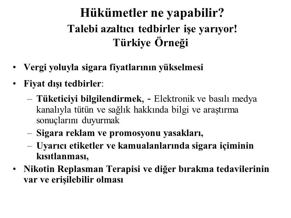 Hükümetler ne yapabilir? Talebi azaltıcı tedbirler işe yarıyor! Türkiye Örneği •Vergi yoluyla sigara fiyatlarının yükselmesi •Fiyat dışı tedbirler: –T