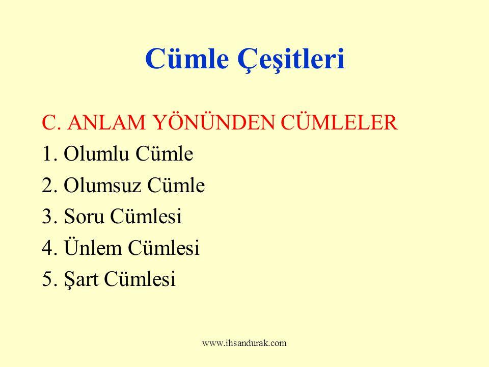 www.ihsandurak.com Cümle Çeşitleri C.ANLAM YÖNÜNDEN CÜMLELER 1.