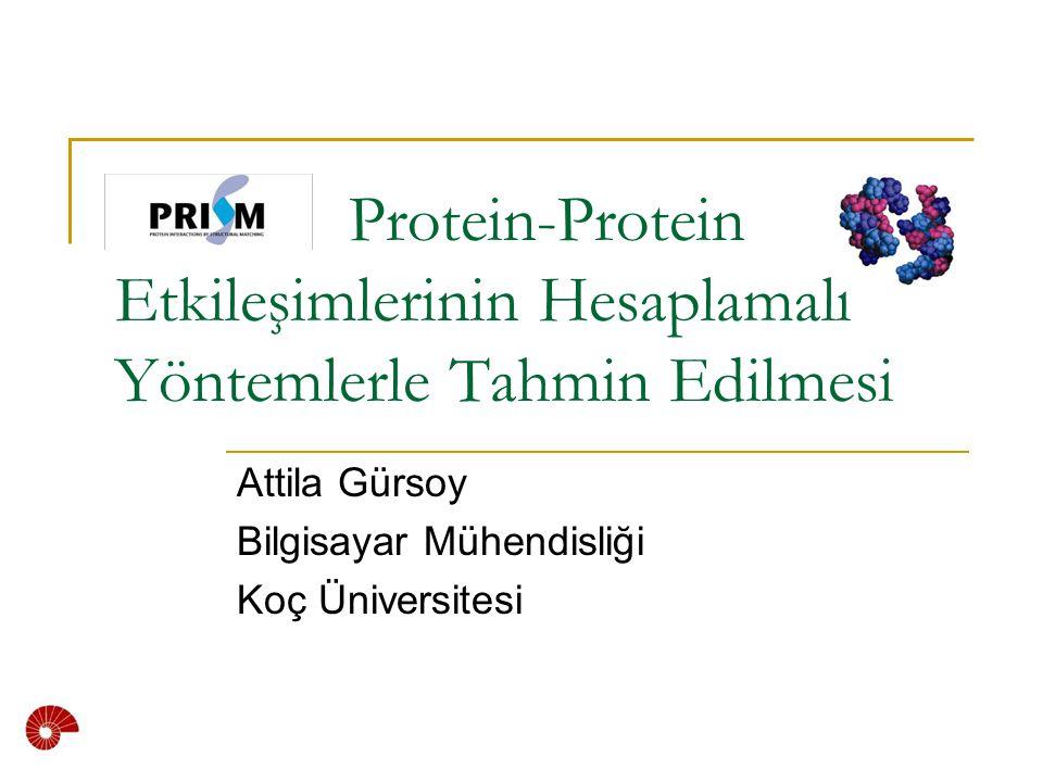 Protein-Protein Etkileşimlerinin Hesaplamalı Yöntemlerle Tahmin Edilmesi Attila Gürsoy Bilgisayar Mühendisliği Koç Üniversitesi