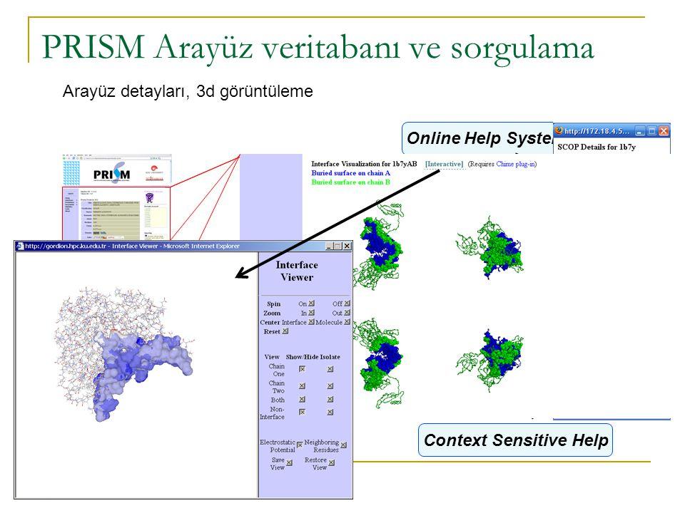PRISM Arayüz veritabanı ve sorgulama Online Help System Navigation Menu Personal History Context Sensitive Help Arayüz detayları, 3d görüntüleme