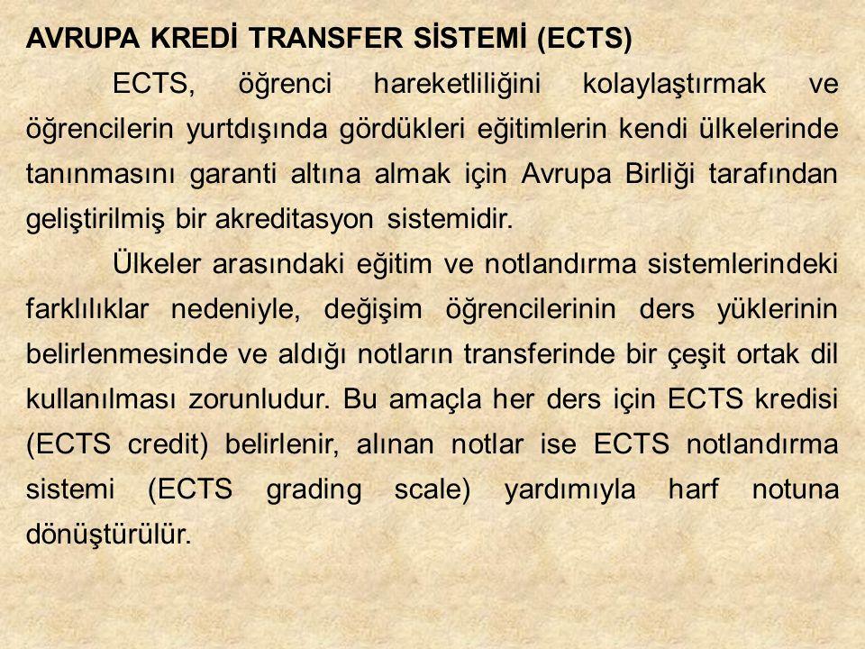 AVRUPA KREDİ TRANSFER SİSTEMİ (ECTS) ECTS, öğrenci hareketliliğini kolaylaştırmak ve öğrencilerin yurtdışında gördükleri eğitimlerin kendi ülkelerinde