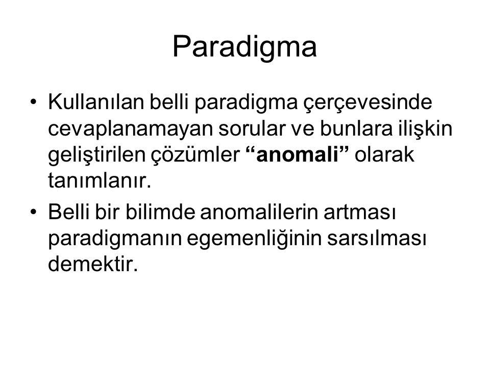 """Paradigma •Kullanılan belli paradigma çerçevesinde cevaplanamayan sorular ve bunlara ilişkin geliştirilen çözümler """"anomali"""" olarak tanımlanır. •Belli"""