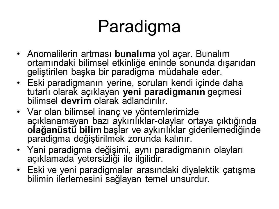 Paradigma •Anomalilerin artması bunalıma yol açar. Bunalım ortamındaki bilimsel etkinliğe eninde sonunda dışarıdan geliştirilen başka bir paradigma mü
