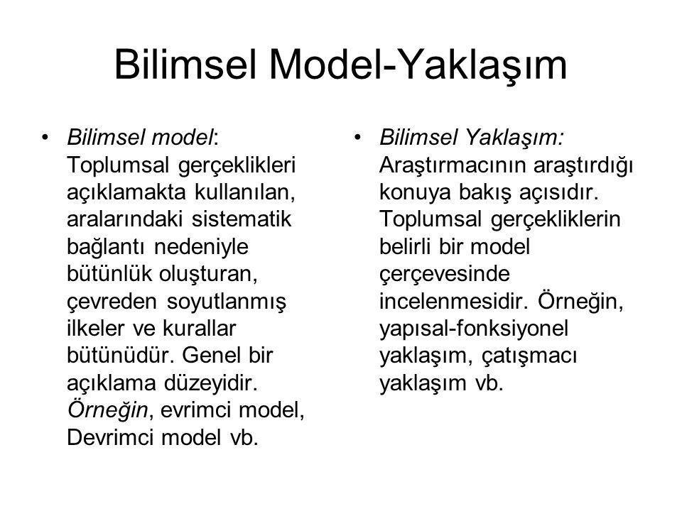 Bilimsel Model-Yaklaşım •Bilimsel model: Toplumsal gerçeklikleri açıklamakta kullanılan, aralarındaki sistematik bağlantı nedeniyle bütünlük oluşturan