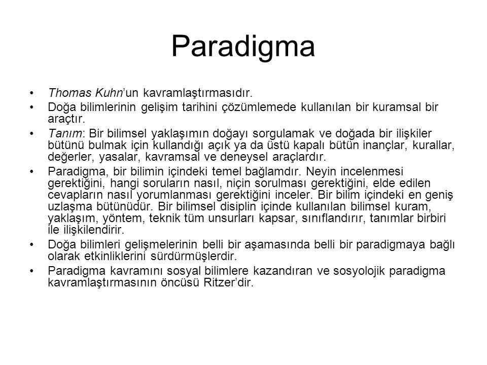 Paradigma •Thomas Kuhn'un kavramlaştırmasıdır. •Doğa bilimlerinin gelişim tarihini çözümlemede kullanılan bir kuramsal bir araçtır. •Tanım: Bir bilims