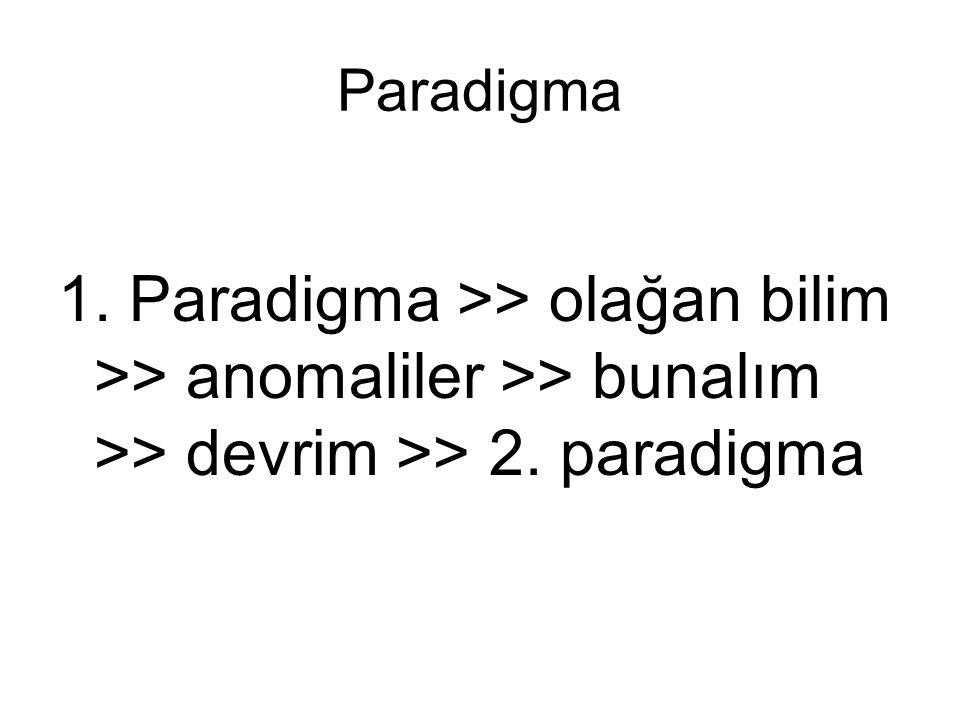 Paradigma •Belli bir paradigmanın öngördüğü koşullar altında yapılan bilimsel etkinlik olağan bilim olarak adlandırılır.