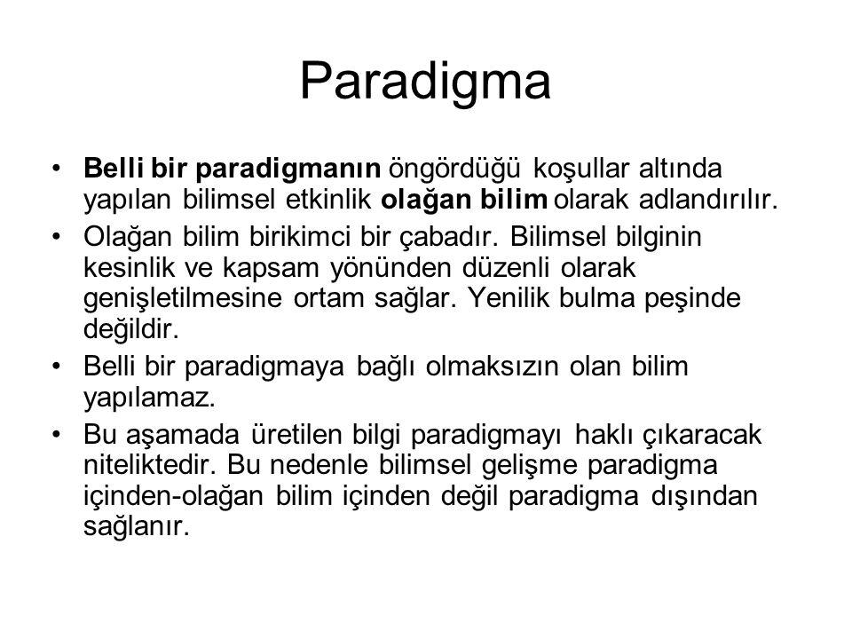 Paradigma •Belli bir paradigmanın öngördüğü koşullar altında yapılan bilimsel etkinlik olağan bilim olarak adlandırılır. •Olağan bilim birikimci bir ç