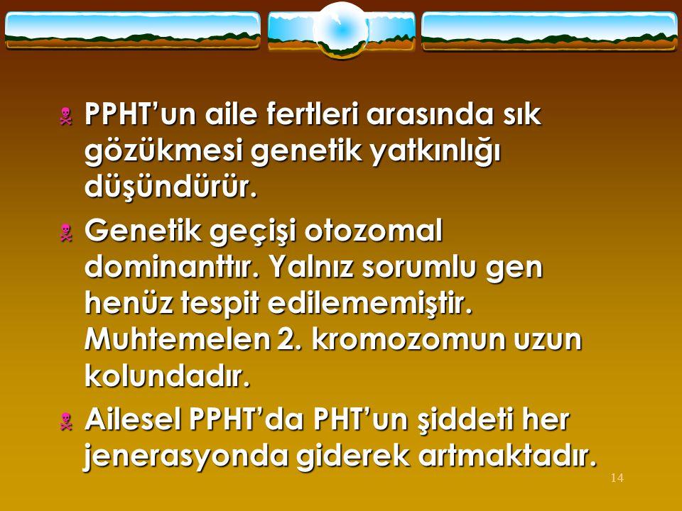 14  PPHT'un aile fertleri arasında sık gözükmesi genetik yatkınlığı düşündürür.  Genetik geçişi otozomal dominanttır. Yalnız sorumlu gen henüz tespi