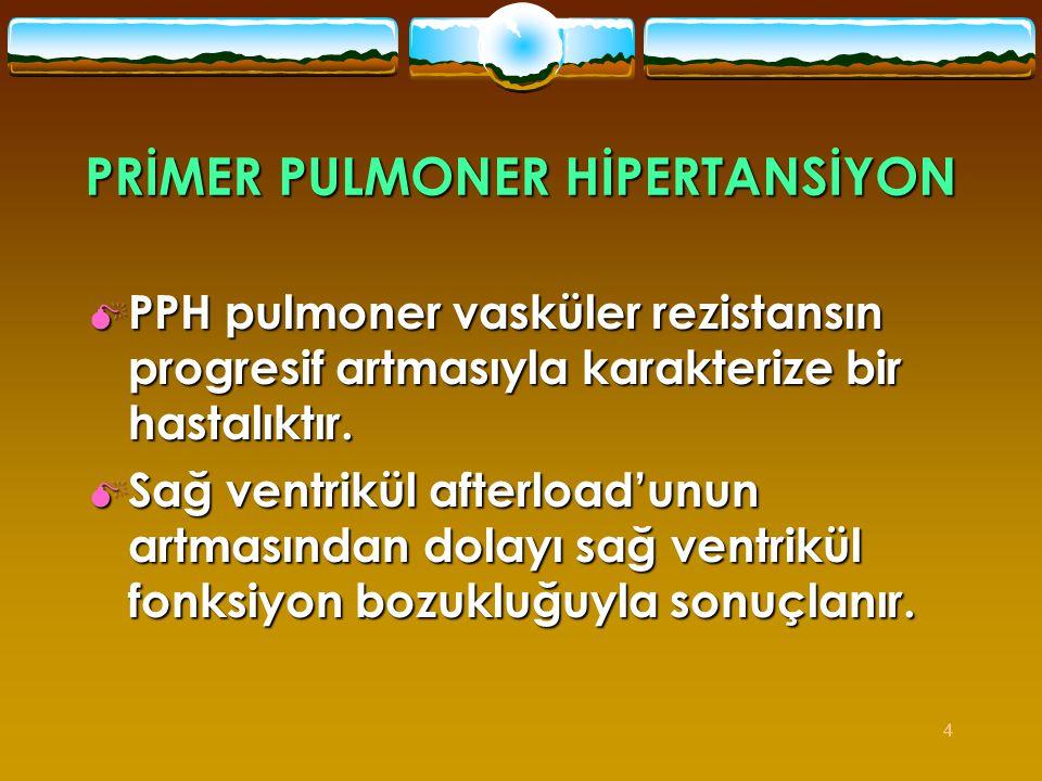 4 PRİMER PULMONER HİPERTANSİYON  PPH pulmoner vasküler rezistansın progresif artmasıyla karakterize bir hastalıktır.  Sağ ventrikül afterload'unun a