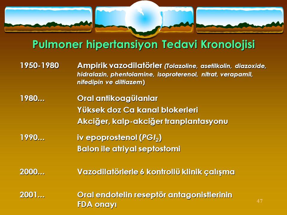 47 Pulmoner hipertansiyon Tedavi Kronolojisi 1950-1980 Ampirik vazodilatörler (Tolazoline, asetilkolin, diazoxide, hidralazin, phentolamine, isoproter