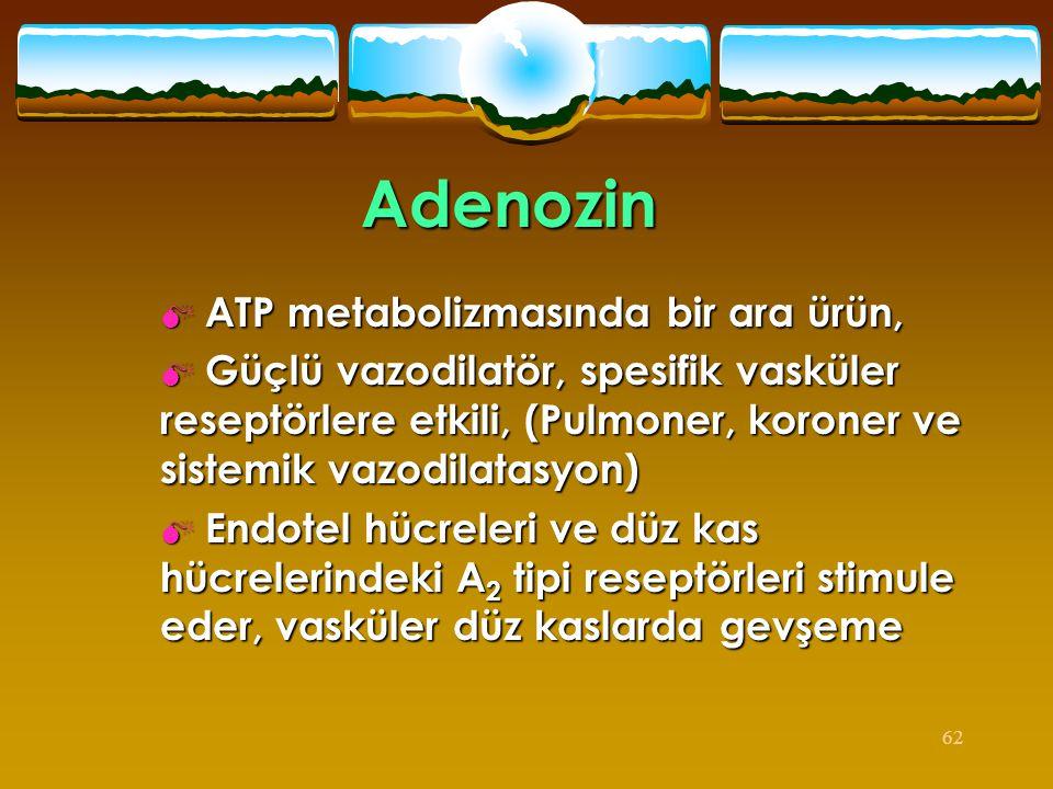 62 Adenozin  ATP metabolizmasında bir ara ürün,  Güçlü vazodilatör, spesifik vasküler reseptörlere etkili, (Pulmoner, koroner ve sistemik vazodilata