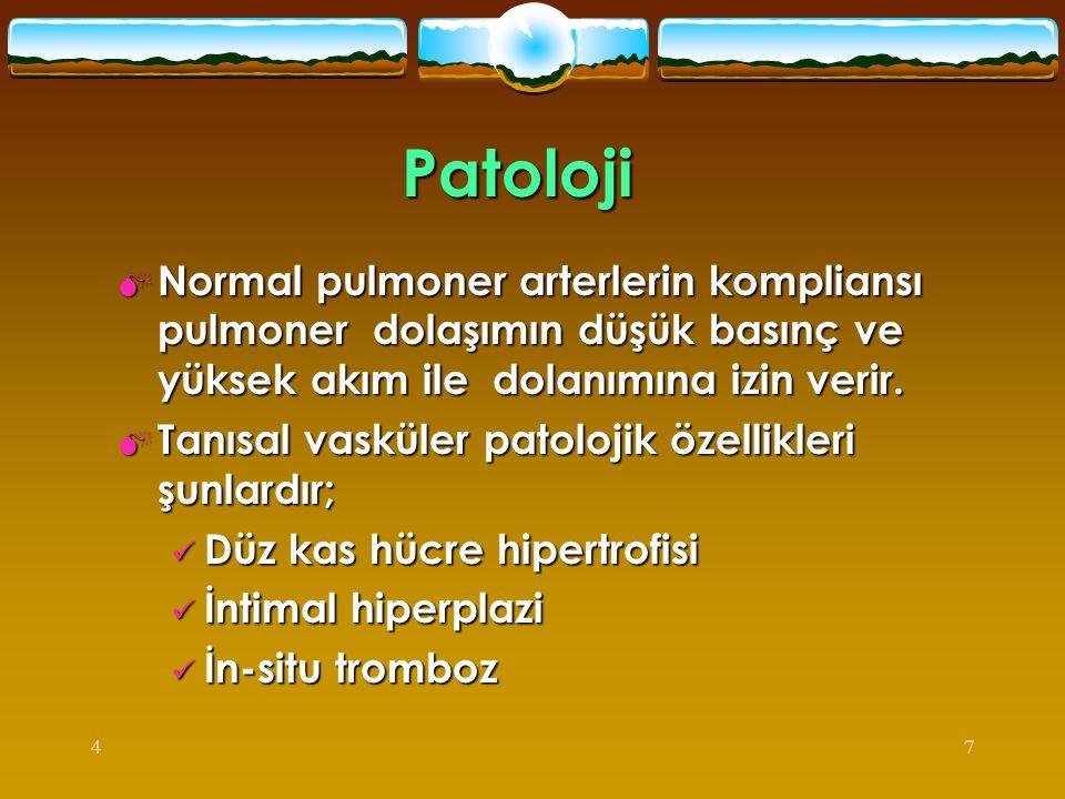 47 Patoloji  Normal pulmoner arterlerin kompliansı pulmoner dolaşımın düşük basınç ve yüksek akım ile dolanımına izin verir.  Tanısal vasküler patol