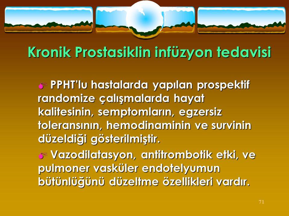 71 Kronik Prostasiklin infüzyon tedavisi  PPHT'lu hastalarda yapılan prospektif randomize çalışmalarda hayat kalitesinin, semptomların, egzersiz tole