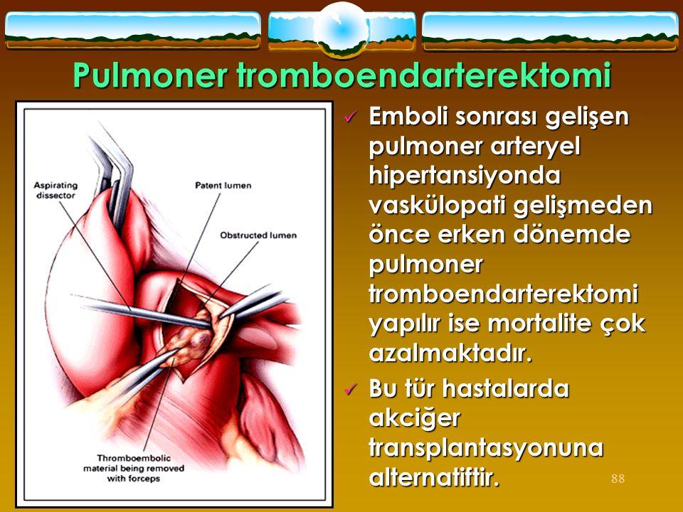 88  Emboli sonrası gelişen pulmoner arteryel hipertansiyonda vaskülopati gelişmeden önce erken dönemde pulmoner tromboendarterektomi yapılır ise mort