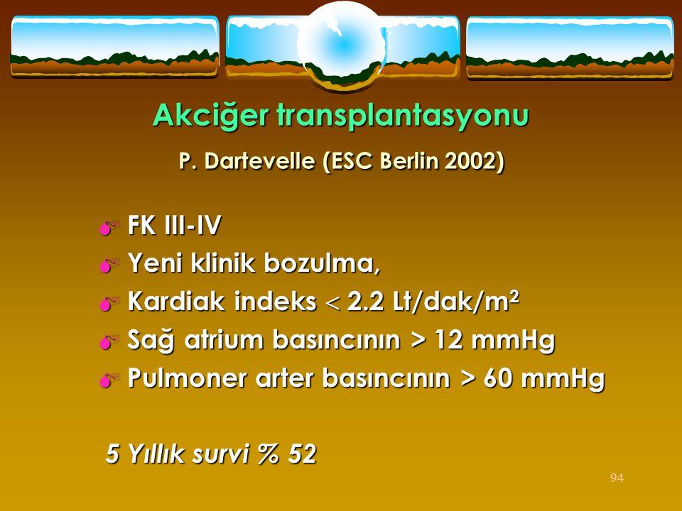 94 Akciğer transplantasyonu P. Dartevelle (ESC Berlin 2002)  FK III-IV  Yeni klinik bozulma,  Kardiak indeks  2.2 Lt/dak/m 2  Sağ atrium basıncın