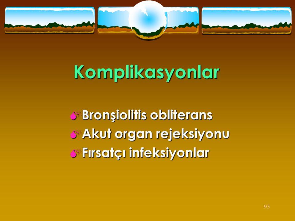 95 Komplikasyonlar  Bronşiolitis obliterans  Akut organ rejeksiyonu  Fırsatçı infeksiyonlar