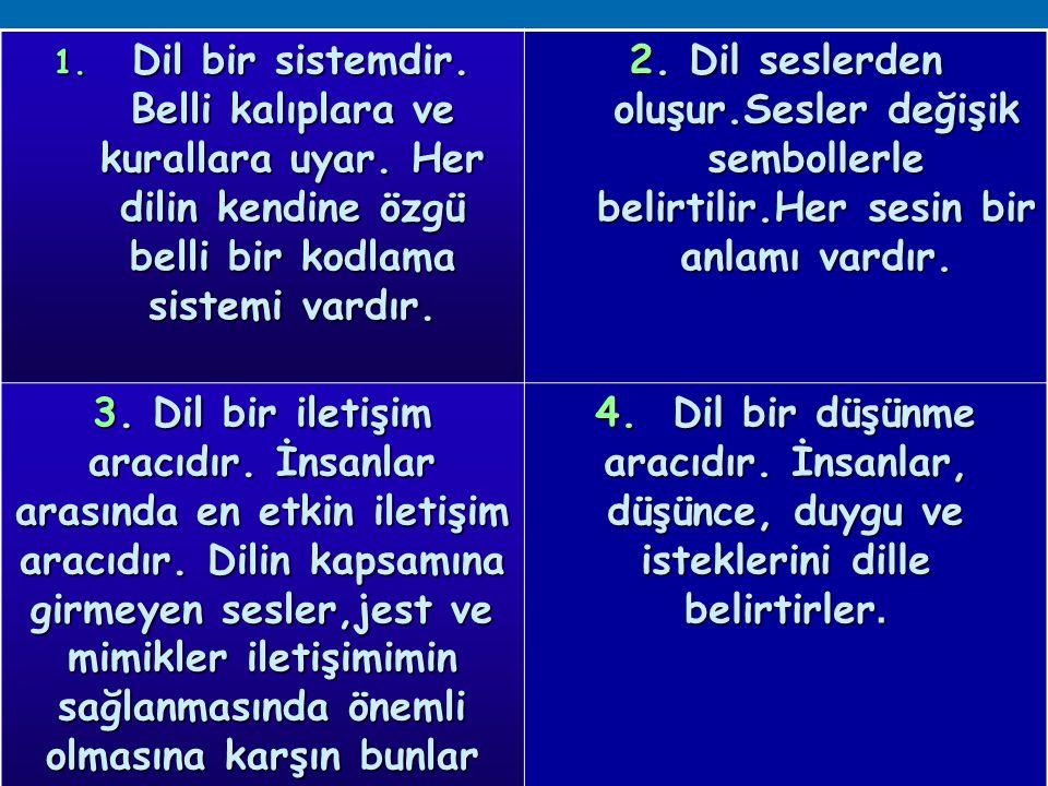 1.Dil bir sistemdir. Belli kalıplara ve kurallara uyar.