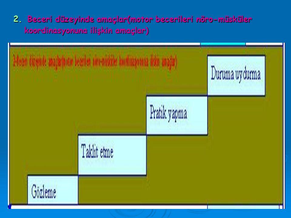 1. Bilgi düzeyinde amaçlar ( Bilginin edinilmesi ve uygulanması ile ilgili amaçlar) : En basit amaç.