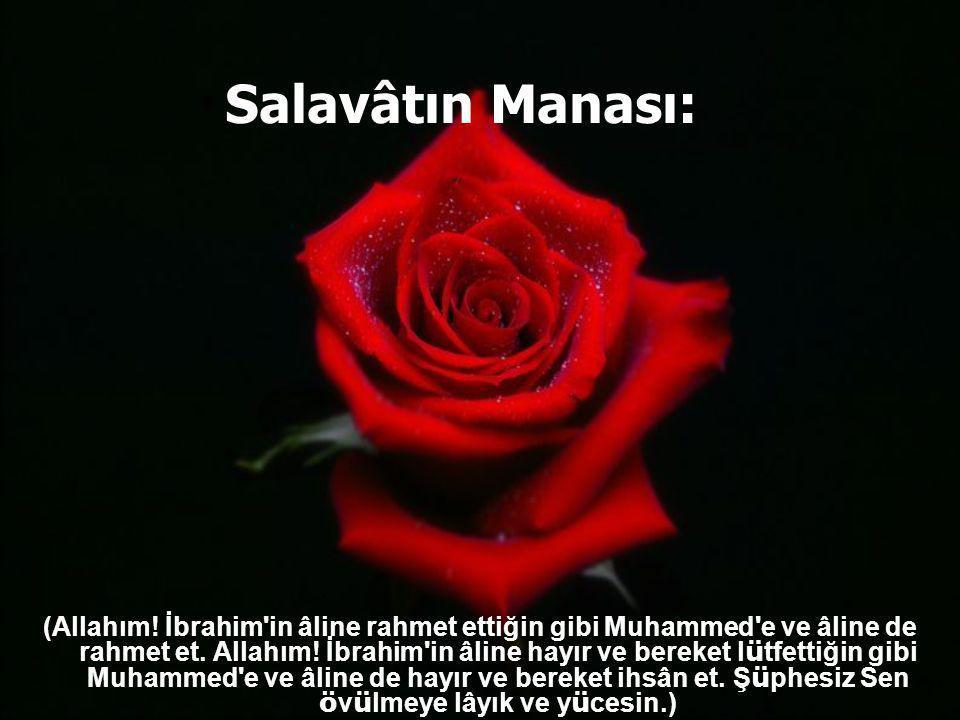 Resulullah (s.a.v), bize şöyle deyiniz buyurdu: Allahümme salli alâ Muhammedin ve alâ âli Muhammed. Kema salleyte alâ âli İbrahime. İnneke hamîdün mec