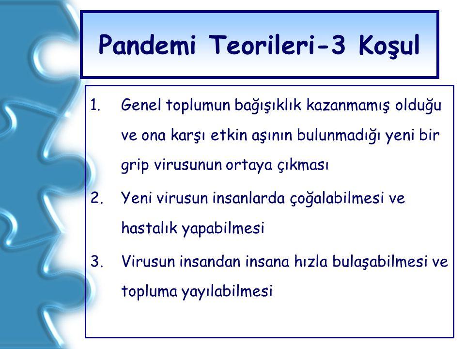 Pandemi Teorileri-3 Koşul 1.Genel toplumun bağışıklık kazanmamış olduğu ve ona karşı etkin aşının bulunmadığı yeni bir grip virusunun ortaya çıkması 2