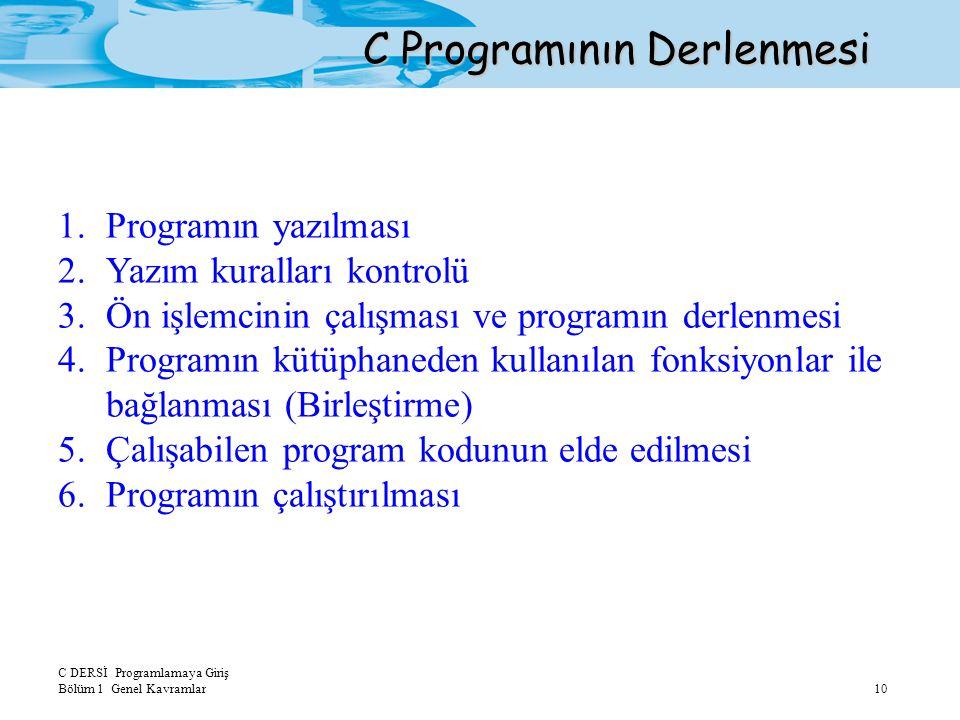 C DERSİ Programlamaya Giriş Bölüm 1 Genel Kavramlar10 C Programının Derlenmesi 1.Programın yazılması 2.Yazım kuralları kontrolü 3.Ön işlemcinin çalışm