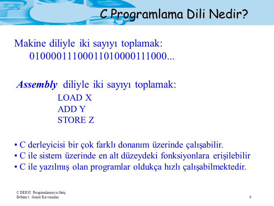 C DERSİ Programlamaya Giriş Bölüm 1 Genel Kavramlar9 C Programlama Dili Nedir? Makine diliyle iki sayıyı toplamak: 01000011100011010000111000... Assem