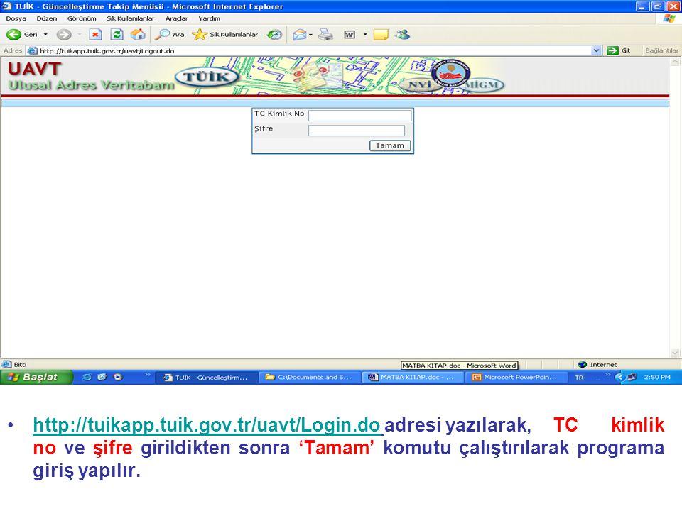 •http://tuikapp.tuik.gov.tr/uavt/Login.do adresi yazılarak,TC kimlik no ve şifre girildikten sonra 'Tamam' komutu çalıştırılarak programa giriş yapılı