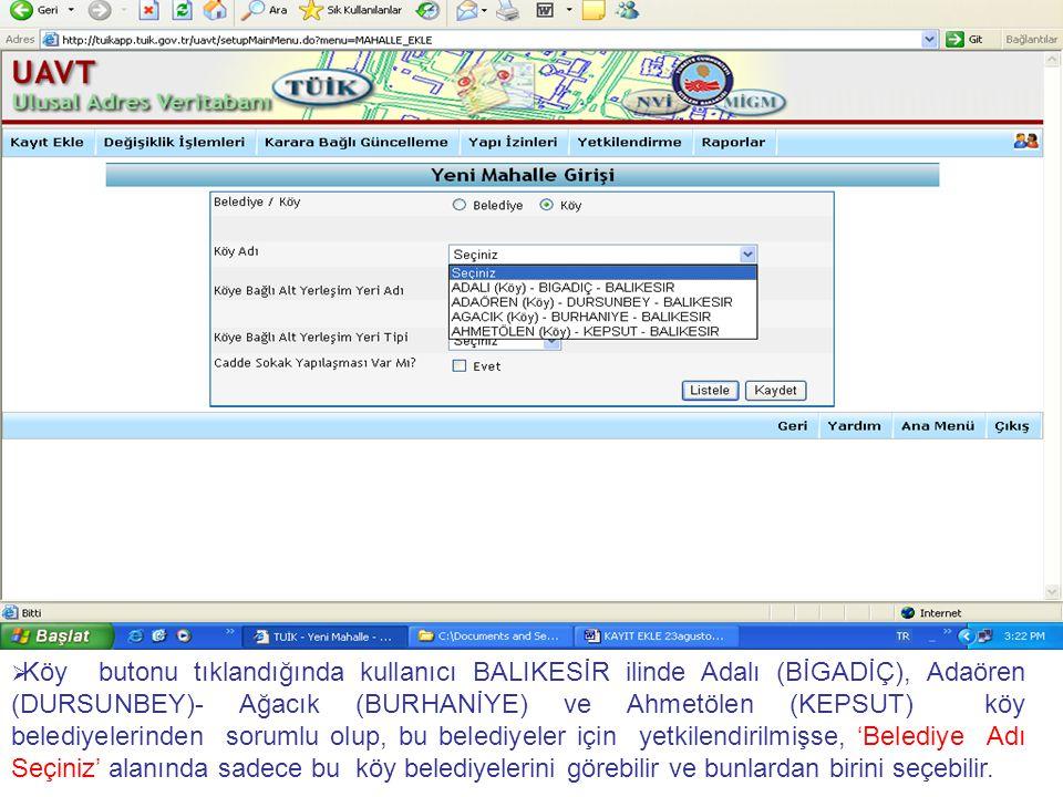   ' Nitelik kodu = 2- Özel işyeri ve 9 – Diğer' hariç, 'Nitelik' alanında kullanıcı herhangi bir veri girişi yapamaz.