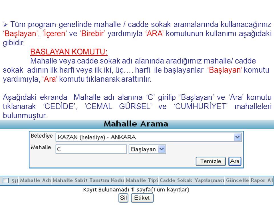 Örnek 10: Eskişehir, Alpu belediyesi Çardakbaşı köyüne ait Avsallar mahallesinde oturan 15 haneyi kayıtlara nasıl ekleyebilirim.