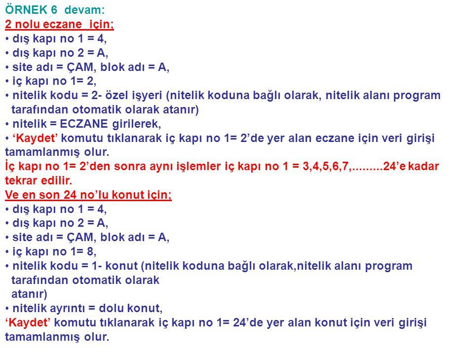 ÖRNEK 6 devam: 2 nolu eczane için; • • dış kapı no 1 = 4, • • dış kapı no 2 = A, • • site adı = ÇAM, blok adı = A, • • iç kapı no 1= 2, • • nitelik ko