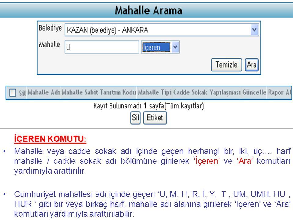 ÖRNEK 4 devam: ÖRNEK 4 devam: Pınar sokak kayıtlara eklendikten sonra 'Son Eklenen Kayıt' ifadesi ile sayfa altına listelenir.